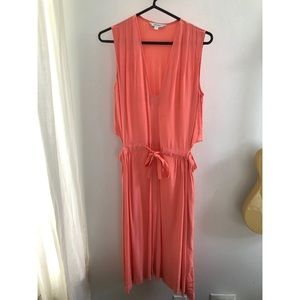 Flamingo Pink Midi Dress with Cutouts